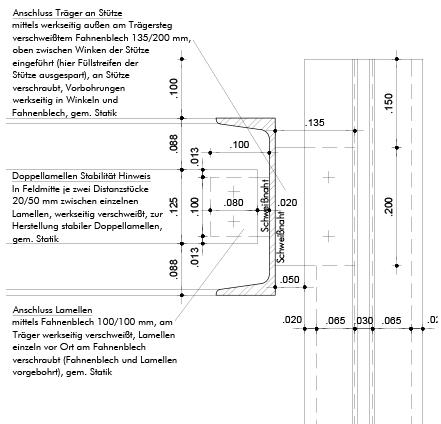 Detail Vertikalschnitt Kontenpunkt Stützenkopf