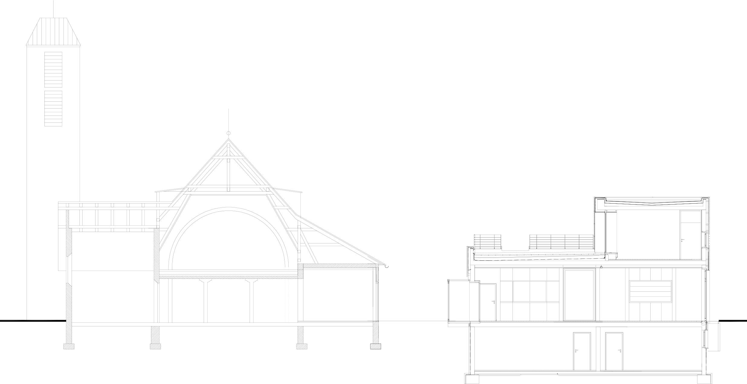 Schnitt Kirche mit Erweiterungsbau