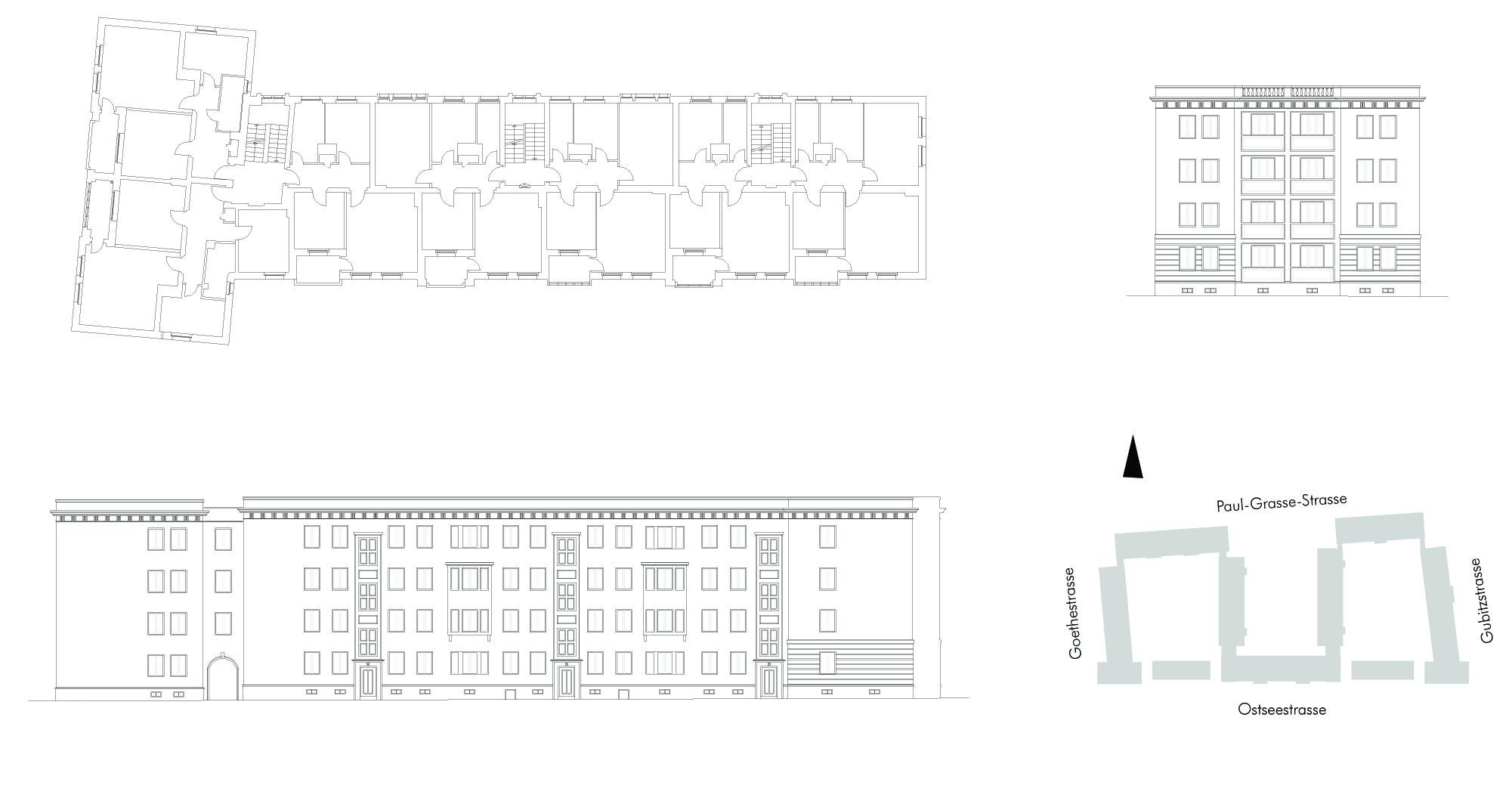 Lageplan, typischer Grundriss, Ansichten Hof- und Straßenseite