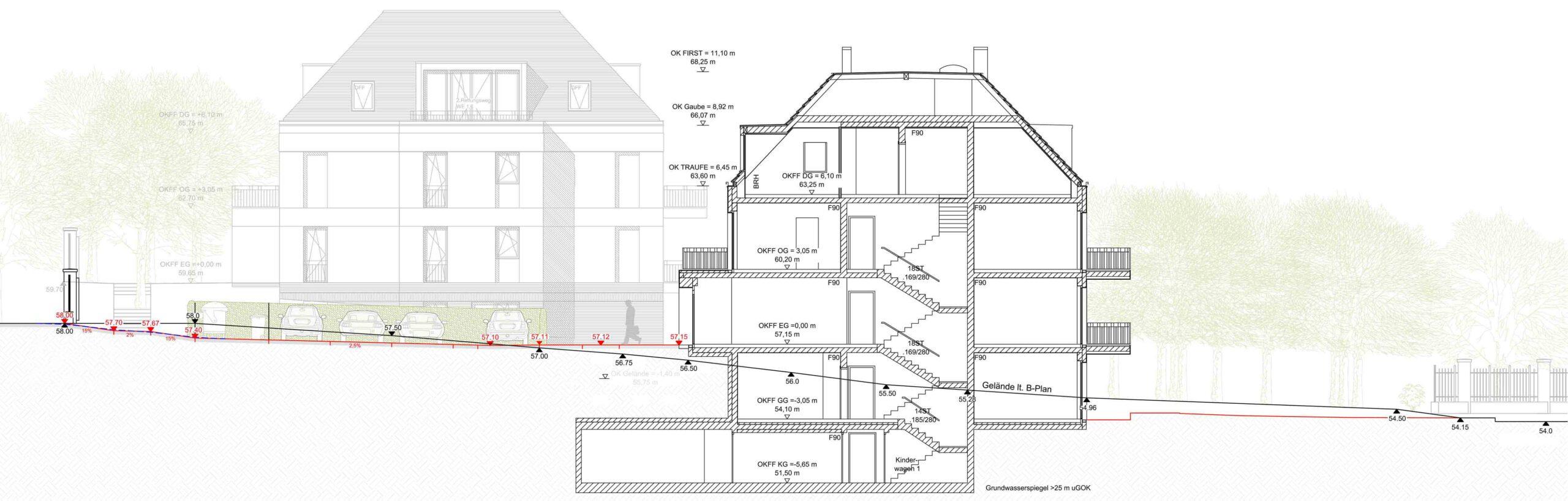 Schnitt typischer Neubau mit Gelände
