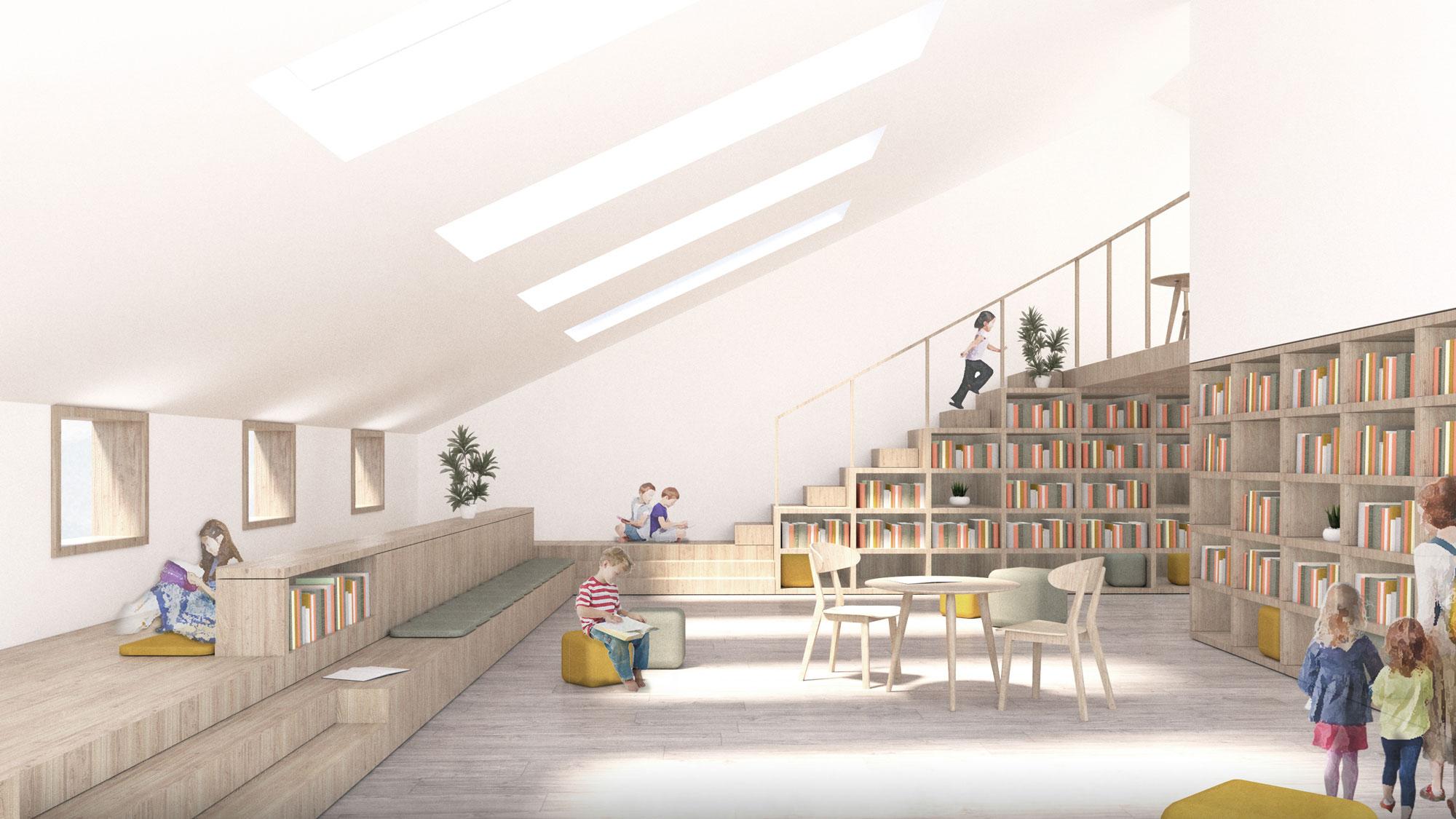 Kinderbibliothek im Altbau