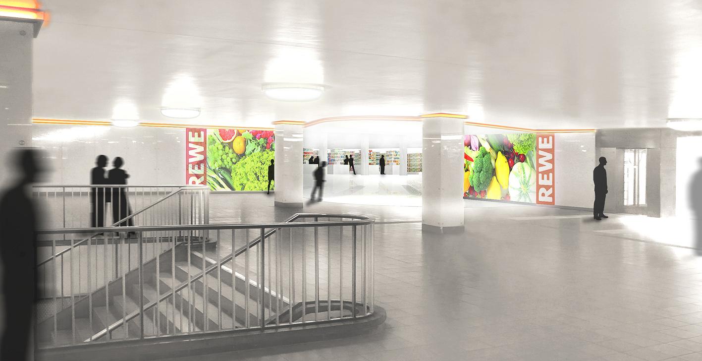 Perspektive Supermarkt S-Bahn-Halle
