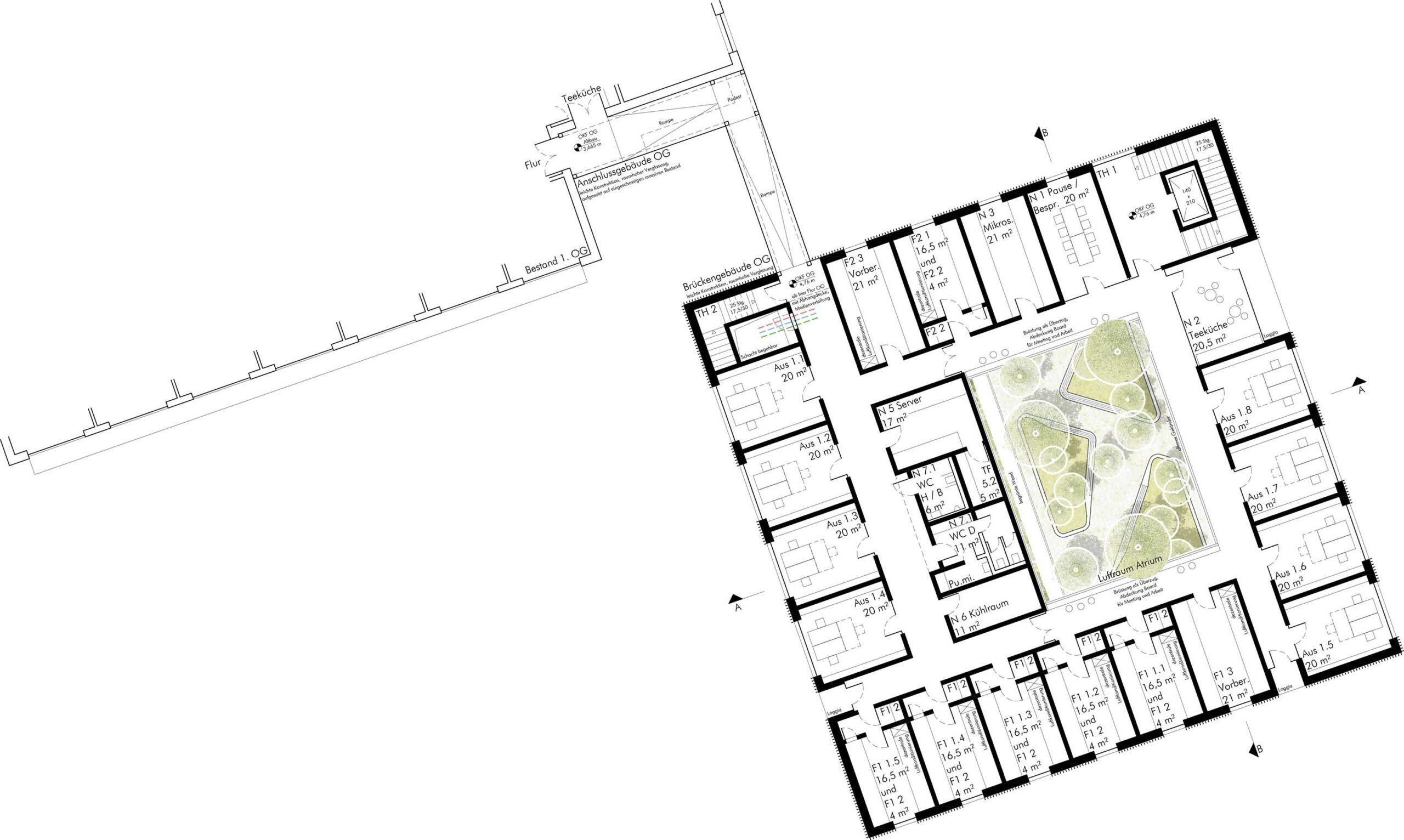 Obergeschoss mit Anbindung an Altbau